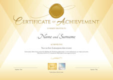 Certificate of achievement template in gold theme with gold wax Royalty Free Stock Images