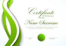 Certificate of achievement template. With green dynamic bent wavy background and seal. Vector illustration stock illustration
