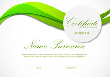 Certificate of achievement template. With green light dynamic wavy background and paper circle badge. Vector illustration stock illustration