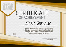 Certificate of achievement template. Horizontal.   Royalty Free Stock Photos