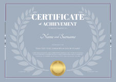 Certificate of achievement template with laurel wreath Royalty Free Stock Images