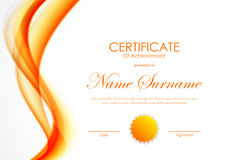 Certificate of achievement template. With orange shiny curved soft wavy background and seal. Vector illustration vector illustration
