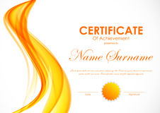 Certificate of achievement template. With orange soft wavy light background and seal. Vector illustration vector illustration