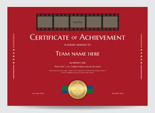 Certificate of achievement template with photo space in movie film Royalty Free Stock Photography