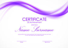 Certificate of achievement template. With purple light soft curved wavy background. Vector illustration vector illustration