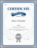 Certificate of achievement template with silver gray border Royalty Free Stock Photo