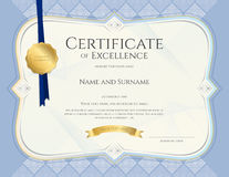 Certificate of achievement template in vector with applied Thai Royalty Free Stock Photo