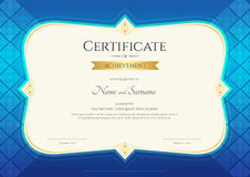 Certificate of achievement template in vector with applied Thai. Art background, blue color Stock Image