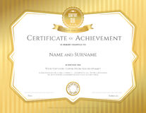 Certificate of achievement template in vector with applied Thai. Art background, gold color Stock Image