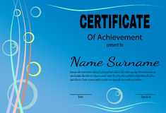 Certificate of achievement template in vector. Blue tone. Vector illustration Royalty Free Stock Photo