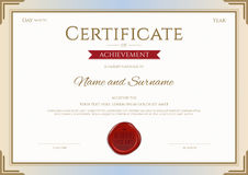 Certificate of achievement template in vector gold and red Stock Images