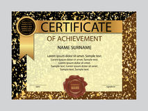 Certificate of achievement template. Vector Stock Image