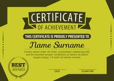 Certificate of Achievement Template. Vector illustration Royalty Free Stock Image