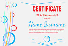 Certificate of achievement template in vector Stock Images