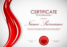Certificate of achievement template. With vivid red dynamic curved wavy background and seal. Vector illustration Stock Photos