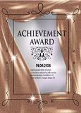 Certificate of achievement vertical sheet with gold cloth on the background. Royalty Free Stock Photos