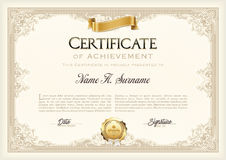 Certificate of Achievement Vintage Frame with Gold Ribbon. Landscape. Vector Royalty Free Stock Photo
