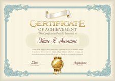 Certificate of Achievement Vintage Frame. Landscape. Vector Royalty Free Stock Photo