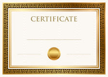 Certificate of achievement with wax seal Royalty Free Stock Photo
