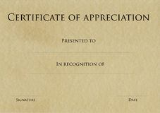 Certificate of appreciation. On an older looking paper Stock Images