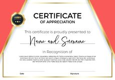 Certificate of appreciation or achievement with award badge. Premium Vector template for awards and diplomas. royalty free illustration