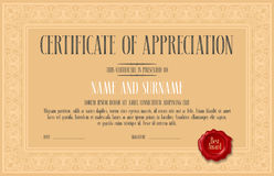 Certificate of appreciation, achievement vector illustration. Template design element with bodycopy and elegant headline for diploma blank Royalty Free Stock Photo
