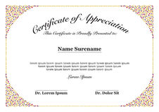 Certificate of Appreciation Stock Images