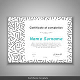 Certificate of appreciation completion, achievement, graduation, diploma or award with line abstract background Stock Images