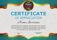 Certificate appreciation. Elegant turquoise template. Reward. Wi Royalty Free Stock Images