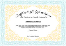 Certificate of Appreciation with floral style ornament Stock Photo