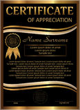 Certificate of appreciation golden and black template. Vertical Royalty Free Stock Photo