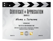 Certificate of appreciation with movie film slate in silver tone. Theme Royalty Free Stock Photo