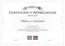 Certificate of appreciation template with award ribbon on abstra Royalty Free Stock Photos
