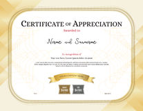 Certificate of appreciation template with award ribbon gold tone Royalty Free Stock Images