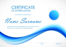 Certificate of appreciation template Stock Images