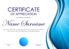 Certificate of appreciation template. With blue dynamic wavy vortex light background and seal. Vector illustration vector illustration
