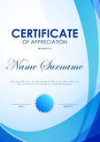 Certificate of appreciation template. With blue futuristic light wavy background and seal. Vector illustration Stock Photos