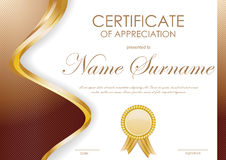Certificate of appreciation template. With brown wavy curved striped background and gold label. Vector illustration Royalty Free Stock Images
