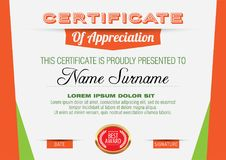 Certificate of Appreciation Template. Vector illustration Royalty Free Stock Photography