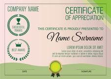 Certificate of Appreciation Template. Vector illustration Stock Photography