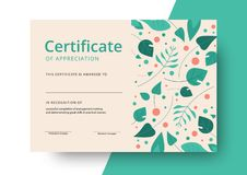 Certificate of appreciation template design. Elegant business di. Ploma layout for training graduation or course completion. Vector background illustration stock illustration