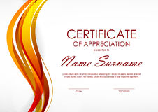 Certificate of appreciation template. With digital orange dynamic wavy background. Vector illustration royalty free illustration