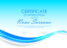 Certificate of appreciation template. With dynamic blue wavy curved marine background. Vector illustration stock illustration