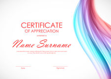 Certificate of appreciation template. With dynamic curved colorful soft wavy background. Vector illustration stock illustration