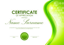 Certificate of appreciation template. With dynamic green wavy smooth background and seal. Vector illustration vector illustration