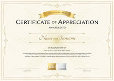 Certificate of appreciation template with gold award ribbon on a. Bstract guilloche background with vintage border style Royalty Free Stock Photos