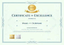 Certificate of appreciation template with gold award ribbon on a Royalty Free Stock Images
