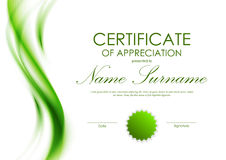 Certificate of appreciation template. With green dynamic soft transparent wavy background and seal. Vector illustration Royalty Free Stock Photos