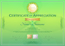 Certificate of appreciation template in green environment theme Stock Photos