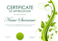 Certificate of appreciation template. With green flower and seal. Vector illustration Royalty Free Stock Photo